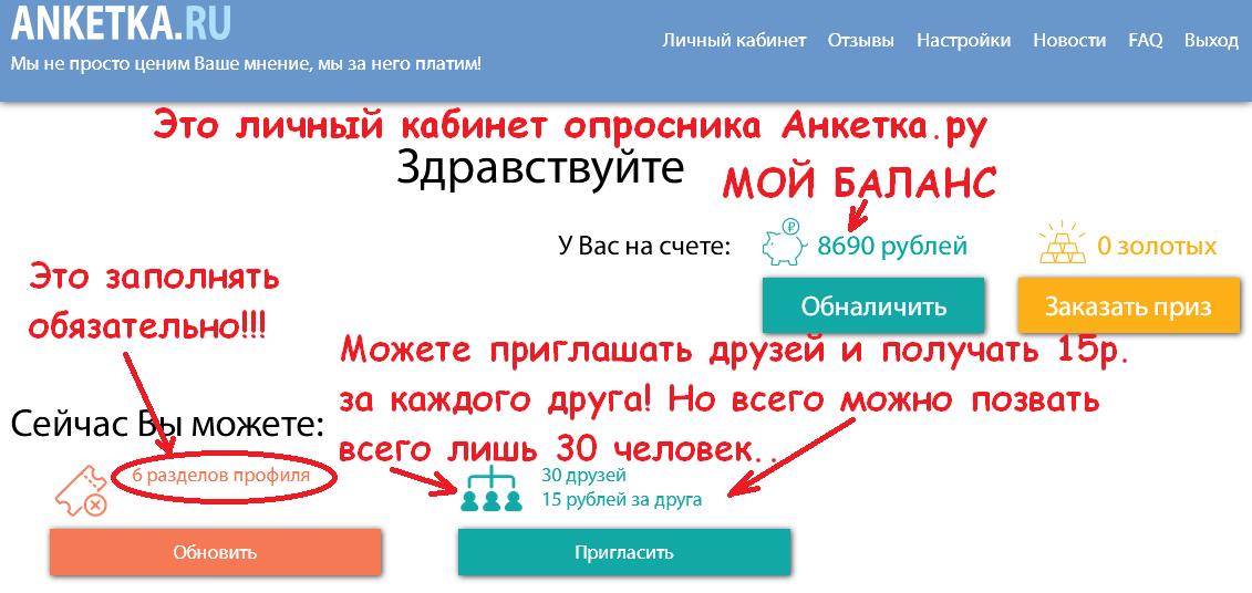 Анкетка.ру отзыв о сайте, личный кабинет